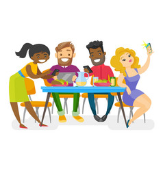 young multiethnic friends hanging out together vector image
