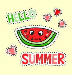 hello summer poster with funny watermelon vector image vector image