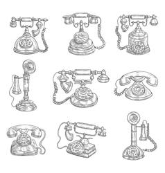 Old retro phones pencil sketch icons vector image vector image