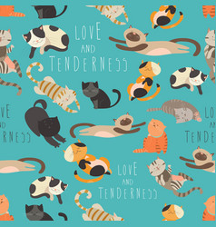 seamless pattren family of cats vector image vector image