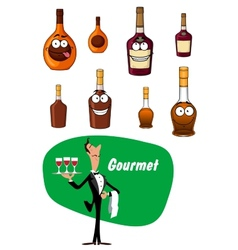 Wine steward and alcoholic drinks collection vector image vector image
