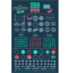 200 line icons emblems elements vector image