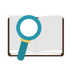 book open with magnifying glass vector image