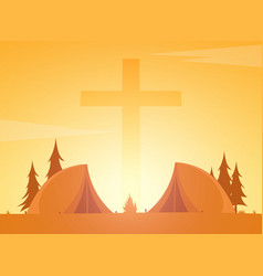 christian summer camp evening camping cross vector image vector image