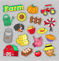 farm agricultural elements set with farmer vector image