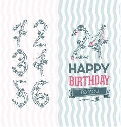 Flower numbers birthday set vector image vector image