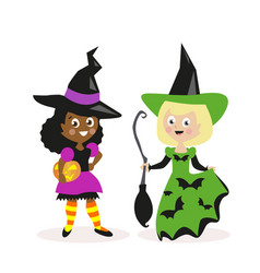 girls dressed as a witch with a broom and pumpkin vector image