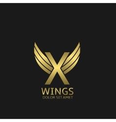 Golden X letter logo vector image