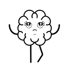 line icon adorable kawaii brain expression vector image vector image