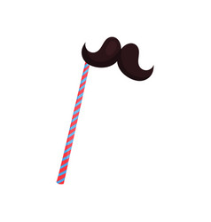 mustache on stick accessory for birthday party vector image