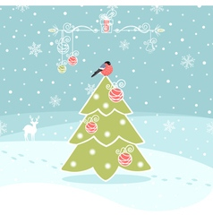 Winter Background with Christmas Tree vector image