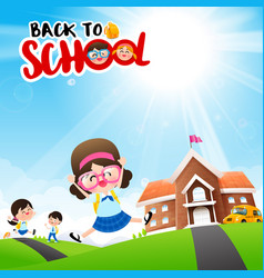 back to school concept student kids cartoon vector image