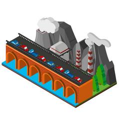 cars on bridge across the river vector image