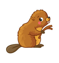 cute young beaver is sitting and holding stick vector image