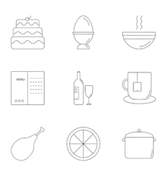 Delicious food icons set outline style vector image