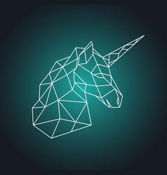Geometric unicorn head side view vector