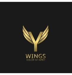 Golden Y letter logo vector image vector image
