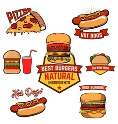 Pizza burger hot-dog in retro vector image vector image