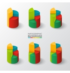 Segmented and multicolored pie charts set vector image