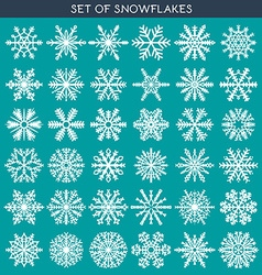 Set 36 white different snowflakes of handmade for vector image vector image