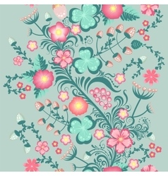 Spring floral seamless pattern in soft pastel vector