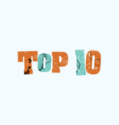 top 10 concept colorful stamped word vector image vector image