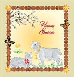 Two lambs and daffodil Easter background vector image