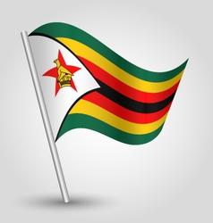 zimbabwean flag on pole vector image vector image
