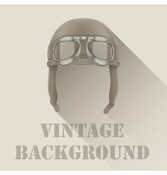 Background of retro aviator pilot or biker helmet vector