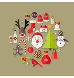 Christmas Flat Icons Set with Santa Claus vector image vector image