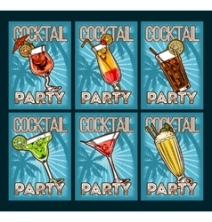 set of cocktail glasses vector image vector image