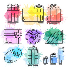 set of linear icons of festive gifts of various vector image