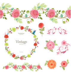 spring floral collection with chrysanthemum vector image vector image