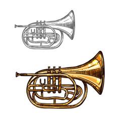 trumpet or horn jazz music instrument sketch vector image