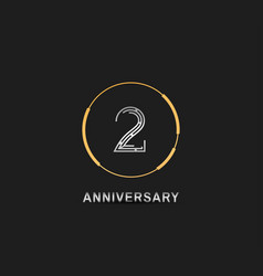 2 anniversary logotype with silver number vector