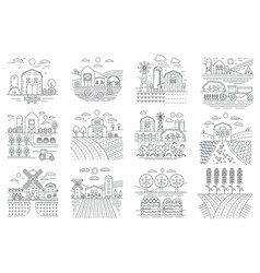 agriculture farm farming fields and buildings vector image