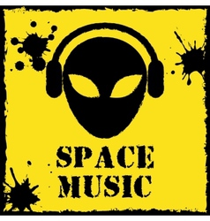 alien space music logo on yellow background vector image
