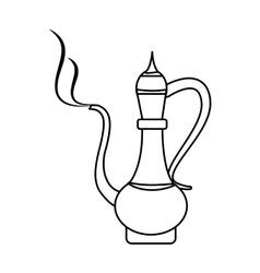 Antique oriental carved jug vector
