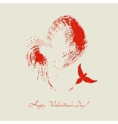 bird flying heart shape vector image vector image