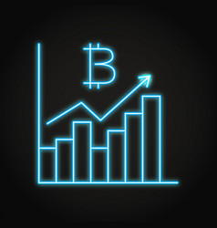 bitcoin graph icon in neon line style vector image