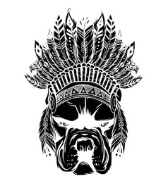 black silhouette pitbull dog head with indian vector image