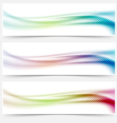 Bright abstract swoosh wave colorful banners vector image