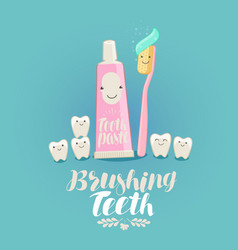 Brushing teeth banner tooth toothpaste vector