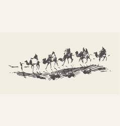 Caravan camels desert rawn sketch vector