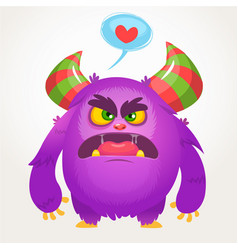 Cartoon of angry monster in love vector