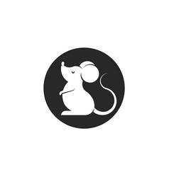 Cartoon white mouse logo or rat icon round shape vector