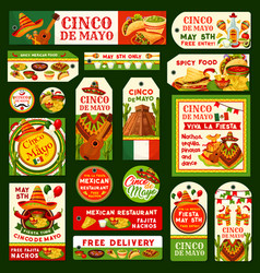 Cinco de mayo mexican fiesta tags vector