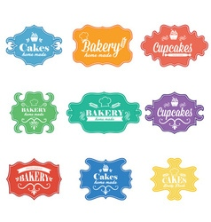 Collection of vintage retro bakery labels vector image