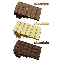 Colorful melted chocolate blocks set vector
