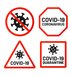 covid19-19 signs ban attention and warn set vector image